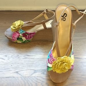 SO 3.5 inch Wedge Sandals- Size 8.5